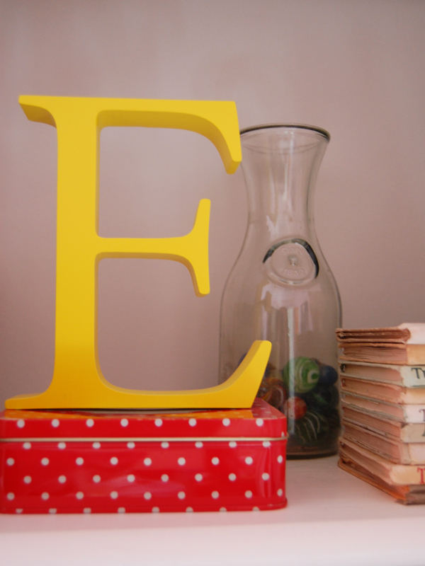 yellow wooden letter