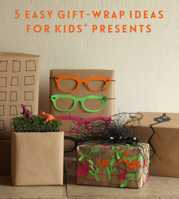 5 easy gift-wrap ideas for kids' presents pinnable | Growing Spaces