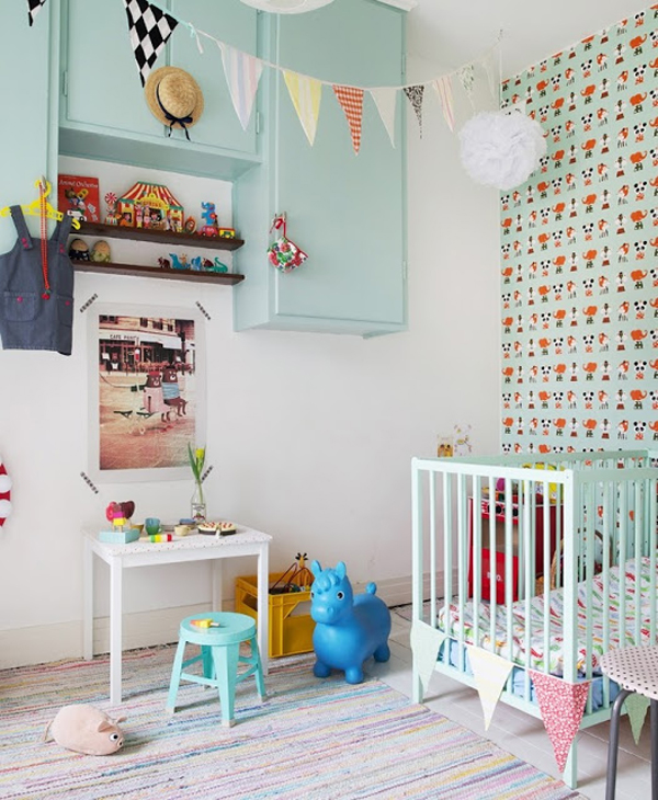 Green gender-neutral kids rooms on Growing Spaces | image via booandtheboy