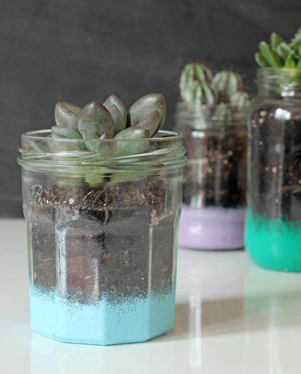 Sponge-painted glass jar planter | Growing Spaces