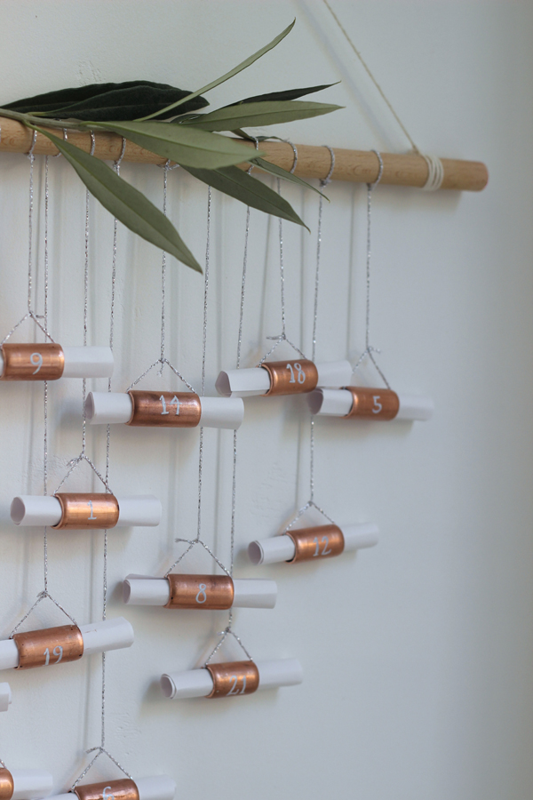 DIY advent calendar with copper pipe | Growing Spacesa