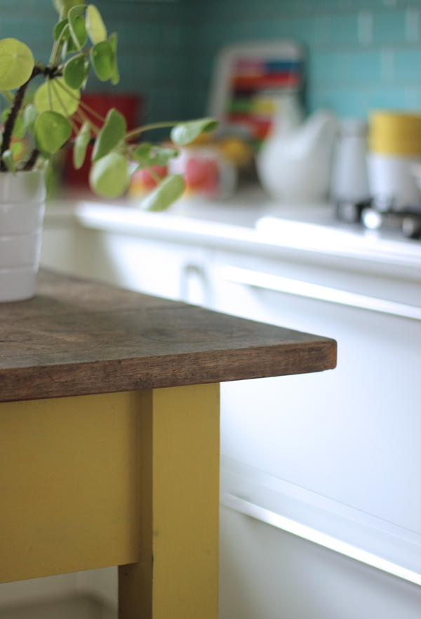 Yellow kitchen island | Growing Spaces