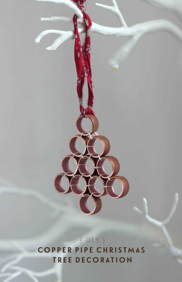 Growing Spaces copper pipe Christmas tree dec