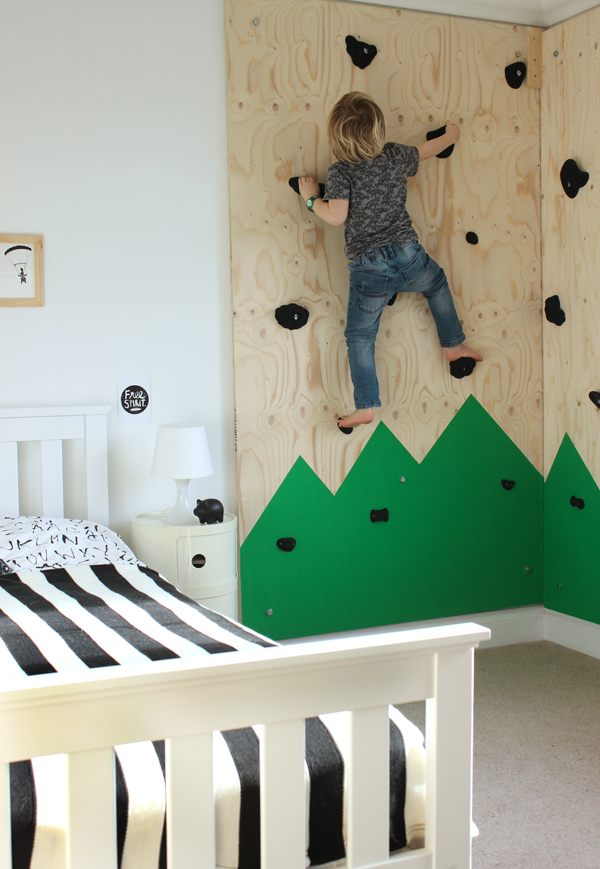 Indoor climbing wall for an outdoors-themed bedroom