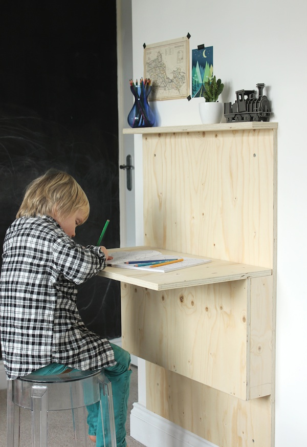 Kids' fold-down plywood desk | Growing Spaces