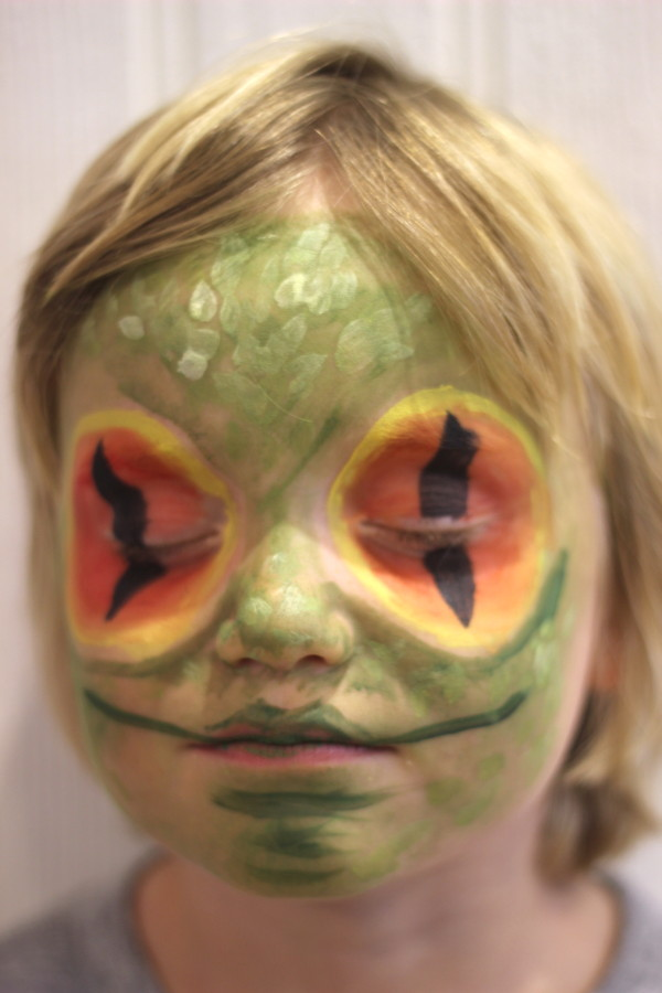 Frog facepaint for the Just So Festival | Growing Spaces