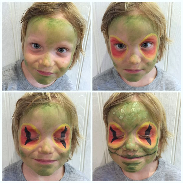 frog facepaint step-by-step | Growing Spaces