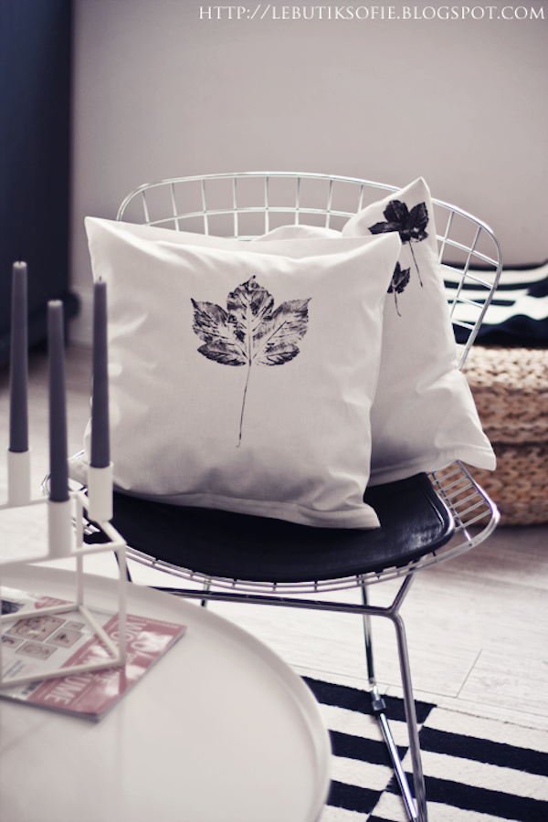 A round up of black and white painted pillowcases | Growing Spaces (image via Butik Sofie)