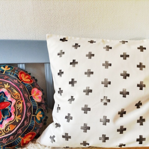 DIY black and white painted pillowcases