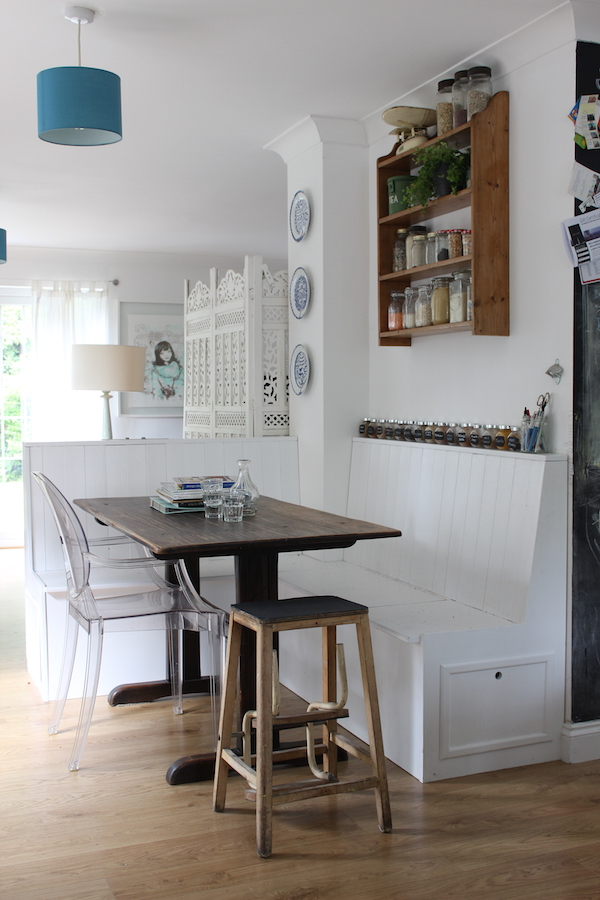 Our diy kitchen banquette growing spaces - Built in kitchen banquette designs ...
