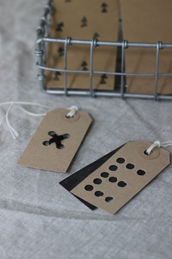 Punched initial and stitched kiss gift tags | Growing Spaces