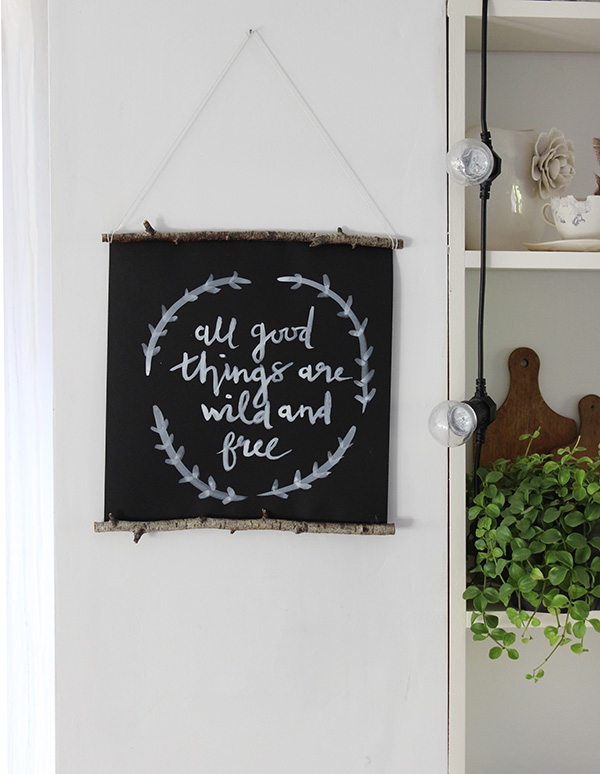 DIY brush lettering wall hanging | Growing Spaces