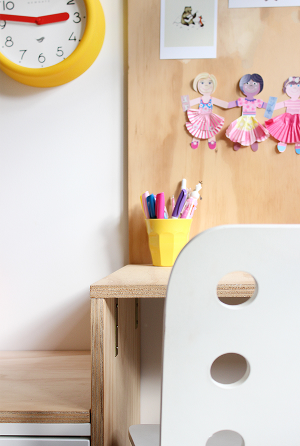 DIY plywood kid's desk area and IKEA hack: Ez's bedroom