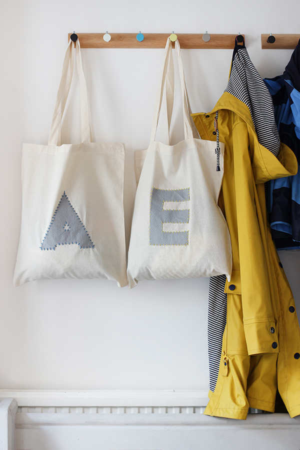 Hallway storage idea: DIY kids kit bags