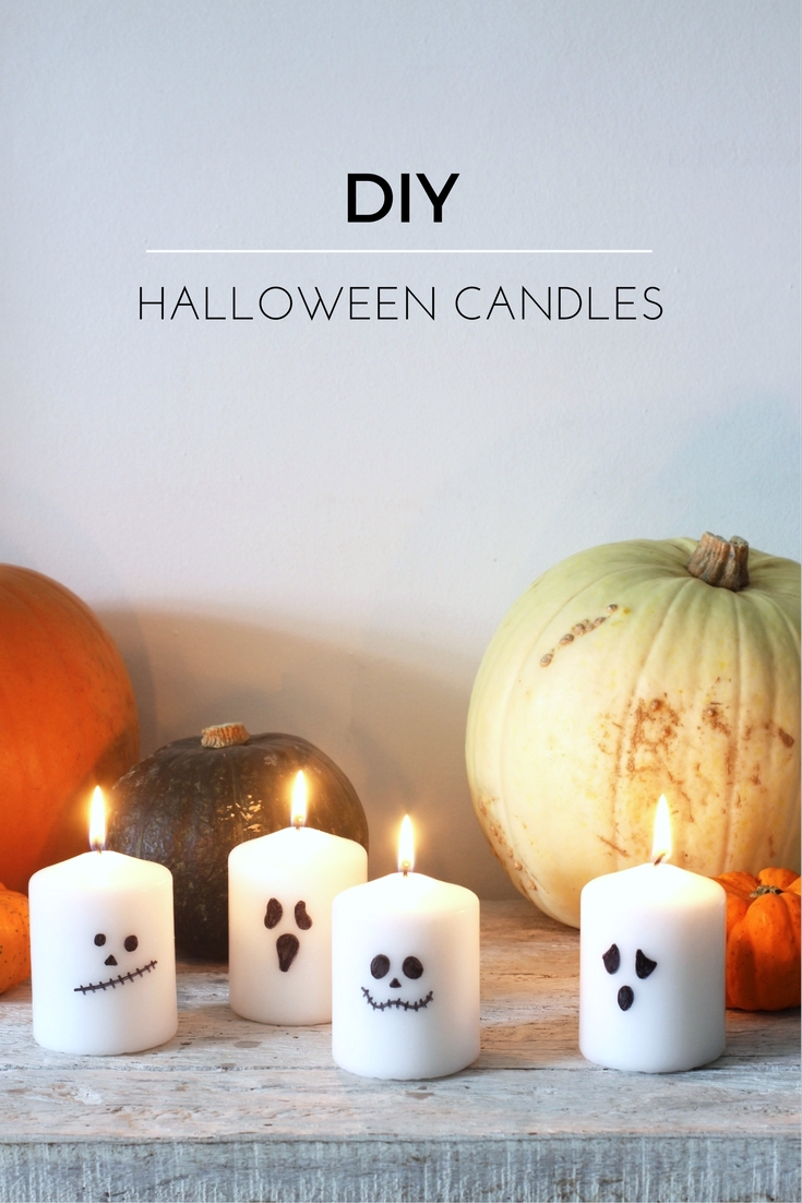 Super-easy halloween candles - all you need are candles and a Sharpie