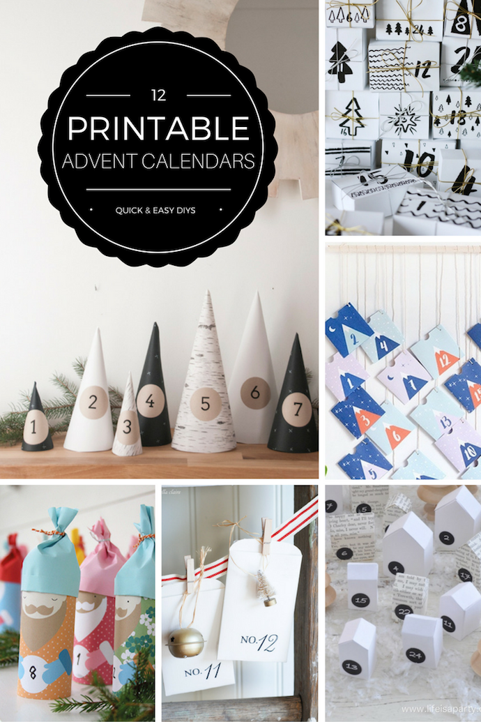 12 free printable DIY advent calendars